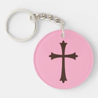 Elegant brown cross on pink simple stylish keychain