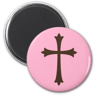 Elegant brown cross on pink simple stylish magnet