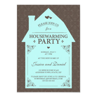 Elegant brown damask aqua blue house housewarming card