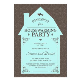 Elegant brown damask aqua blue house housewarming invites