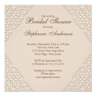 Elegant Brown Damask Bridal Shower Invitation
