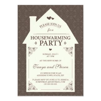 Elegant brown damask cream house housewarming card