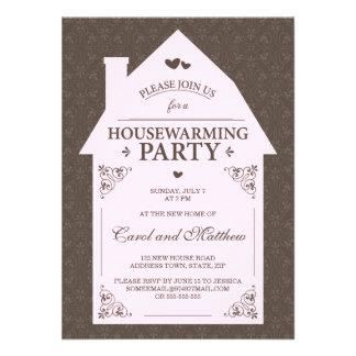 Elegant brown damask pale pink house housewarming announcements