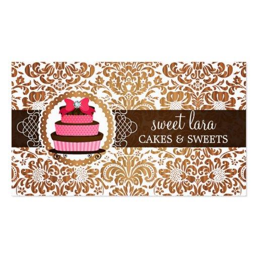 Elegant Brown Damask Pink Cake Diamond Bakery Business