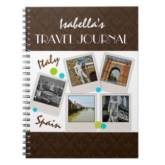 Elegant Brown Damask Travel Journal and Photos