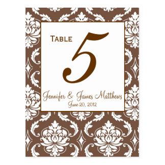 Elegant Brown Damask Wedding Table Number Postcard