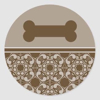 Elegant Brown Dog Bone Stickers
