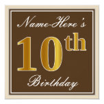 [ Thumbnail: Elegant, Brown, Faux Gold 10th Birthday + Name Invitation ]
