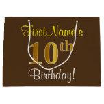 [ Thumbnail: Elegant, Brown, Faux Gold 10th Birthday + Name Gift Bag ]