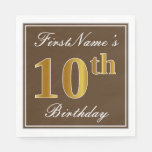 [ Thumbnail: Elegant Brown, Faux Gold 10th Birthday + Name Paper Napkin ]