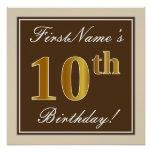 [ Thumbnail: Elegant, Brown, Faux Gold 10th Birthday + Name Poster ]