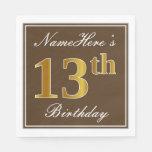 [ Thumbnail: Elegant Brown, Faux Gold 13th Birthday + Name Napkin ]