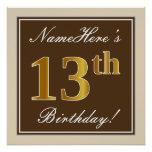 [ Thumbnail: Elegant, Brown, Faux Gold 13th Birthday + Name Poster ]