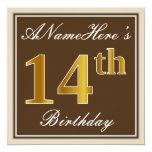[ Thumbnail: Elegant, Brown, Faux Gold 14th Birthday + Name Invitation ]