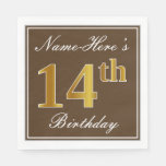 [ Thumbnail: Elegant Brown, Faux Gold 14th Birthday + Name Napkin ]