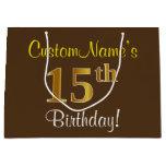 [ Thumbnail: Elegant, Brown, Faux Gold 15th Birthday + Name Gift Bag ]
