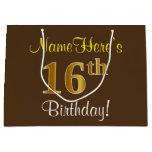 [ Thumbnail: Elegant, Brown, Faux Gold 16th Birthday + Name Gift Bag ]