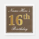 [ Thumbnail: Elegant Brown, Faux Gold 16th Birthday + Name Napkin ]