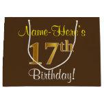 [ Thumbnail: Elegant, Brown, Faux Gold 17th Birthday + Name Gift Bag ]