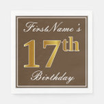 [ Thumbnail: Elegant Brown, Faux Gold 17th Birthday + Name Paper Napkin ]