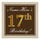 [ Thumbnail: Elegant, Brown, Faux Gold 17th Birthday + Name Poster ]