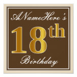 [ Thumbnail: Elegant, Brown, Faux Gold 18th Birthday + Name Invitation ]