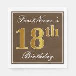 [ Thumbnail: Elegant Brown, Faux Gold 18th Birthday + Name Paper Napkin ]