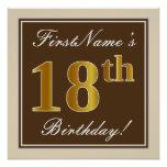 [ Thumbnail: Elegant, Brown, Faux Gold 18th Birthday + Name Poster ]