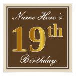 [ Thumbnail: Elegant, Brown, Faux Gold 19th Birthday + Name Invitation ]