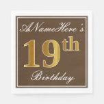 [ Thumbnail: Elegant Brown, Faux Gold 19th Birthday + Name Paper Napkin ]