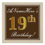 [ Thumbnail: Elegant, Brown, Faux Gold 19th Birthday + Name Poster ]