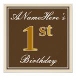 [ Thumbnail: Elegant, Brown, Faux Gold 1st Birthday + Name Invitation ]