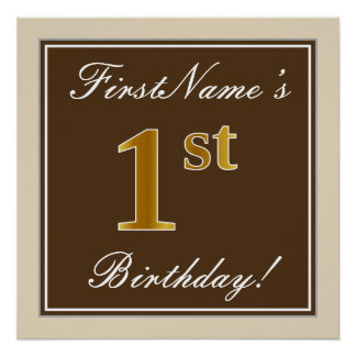Elegant, Brown, Faux Gold 1st Birthday + Name Poster