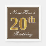 [ Thumbnail: Elegant Brown, Faux Gold 20th Birthday + Name Paper Napkin ]