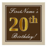 [ Thumbnail: Elegant, Brown, Faux Gold 20th Birthday + Name Poster ]