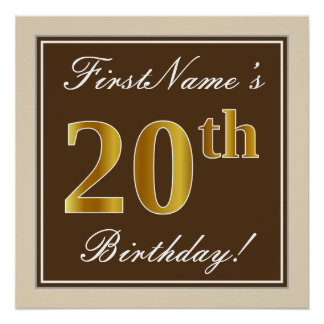 Elegant, Brown, Faux Gold 20th Birthday + Name Poster