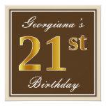 [ Thumbnail: Elegant, Brown, Faux Gold 21st Birthday + Name Invitation ]