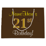 [ Thumbnail: Elegant, Brown, Faux Gold 21st Birthday + Name Gift Bag ]