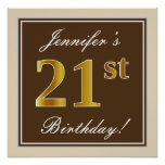 [ Thumbnail: Elegant, Brown, Faux Gold 21st Birthday + Name Poster ]
