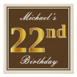 [ Thumbnail: Elegant, Brown, Faux Gold 22nd Birthday + Name Invitation ]