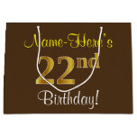 [ Thumbnail: Elegant, Brown, Faux Gold 22nd Birthday + Name Gift Bag ]