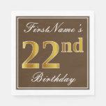[ Thumbnail: Elegant Brown, Faux Gold 22nd Birthday + Name Napkin ]