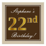 [ Thumbnail: Elegant, Brown, Faux Gold 22nd Birthday + Name Poster ]