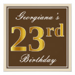 [ Thumbnail: Elegant, Brown, Faux Gold 23rd Birthday + Name Invitation ]