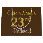 [ Thumbnail: Elegant, Brown, Faux Gold 23rd Birthday + Name Gift Bag ]