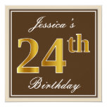 [ Thumbnail: Elegant, Brown, Faux Gold 24th Birthday + Name Invitation ]