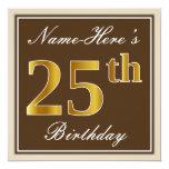 [ Thumbnail: Elegant, Brown, Faux Gold 25th Birthday + Name Invitation ]