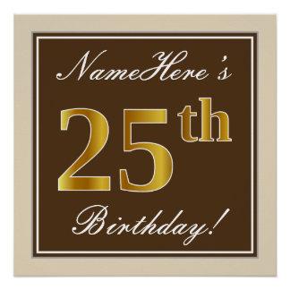 Elegant, Brown, Faux Gold 25th Birthday + Name Poster