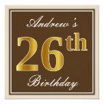 [ Thumbnail: Elegant, Brown, Faux Gold 26th Birthday + Name Invitation ]