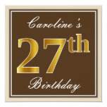 [ Thumbnail: Elegant, Brown, Faux Gold 27th Birthday + Name Invitation ]